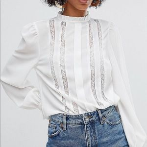 New Look High Neck Lace Insert Top Blouse